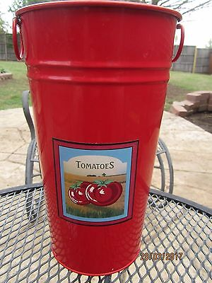"Red Kitchen Decor Tomato Bucket with handles Over 12"" Tall"