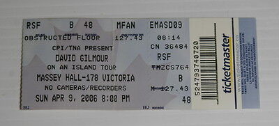 David Gilmour Ticket at Massey Hall – April 9, 2006 – On An Island Tour