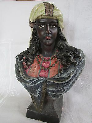 Superb Antique / Vintage Terracotta Hand Painted Bust of Woman Moor ? Austrian ?