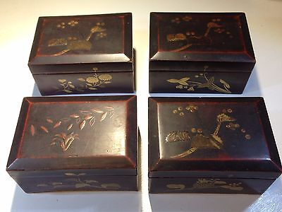 Antique Vintage Estate Japanese Lacquer Box (Set of 4)