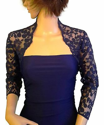 womens Navy , Black or Purple Lace Bridal 3/4 sleeve Bolero/Jacket 8 to 18