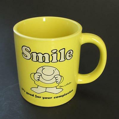 Ziggy Smile Coffee Mug Sunny Yellow Stoneware Cup Funny Cartoon Vintage 80s