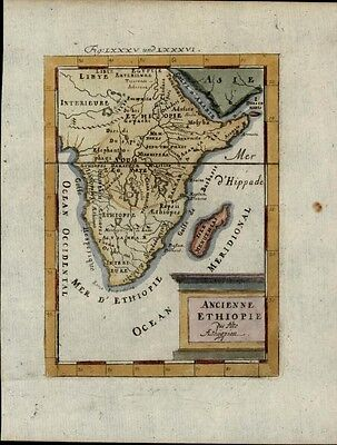 Africa Mts. of Moon 1719 ancient Ethiopia kingdom charming old Mallet map color