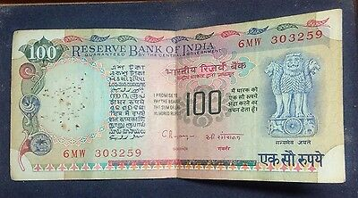 Old India Currency Bank Note 100 Rupee
