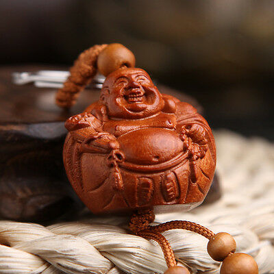 Happy Maitreya Buddha Wood 3D Carving Chinese Statue Pendant Key Chain Keyring