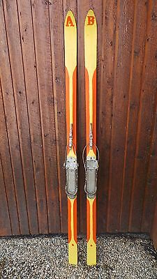 """ANTIQUE Wooden 75"""" Long HICKORY Skis with Orange Finish + Metal Bindings"""