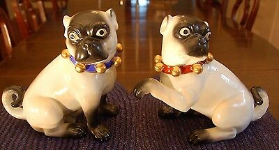 Pair of Vintage Antique Style Pugs with Cropped Ears by Jeanne Reed