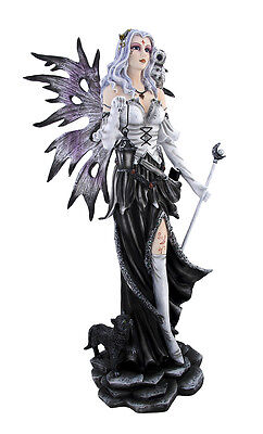 Winter Fairy with Snowy Owl and Black Cat Statue 23 In.