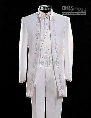 Mens Wedding Suits White Embroidery Groom Tuxedos Formal Prom Best Man Tailcoats