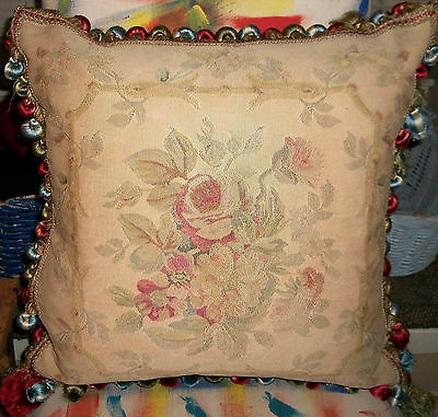 Authentic Antique Aubusson Pillow Early-Mid 19th-C w French Silk Passementerie
