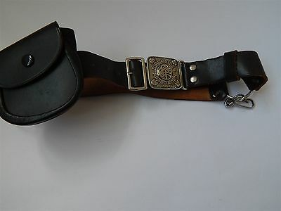 Vintage Leather Girl Guide Belt Official Pattern With Two Spring Clips And Purse