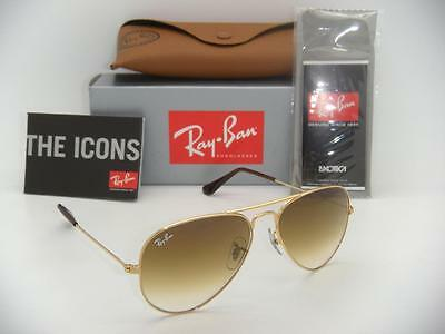 Authentic Ray-Ban Aviator Gold Frame / Brown Gradient  RB 3025 001/51 55mm Small