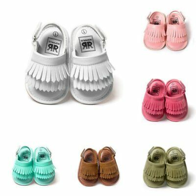 Baby Kids Girl Boy Prewalker Sandals Tassel Soft Sole Anti-Slip Crib Shoes 0-18M