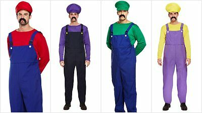 Mens Super Mario Bros Luigi Wario Waluigi Fancy Dress Costume Workman Plumber