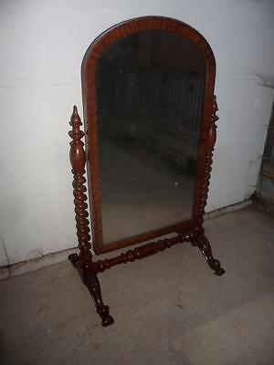 A Most Wonderful Original Victorian Mahogany Large Barley Twist Cheval Mirror