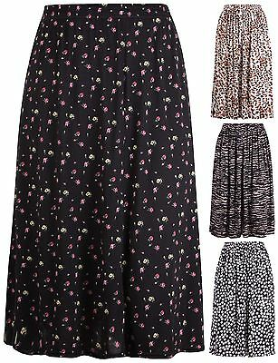 83f65928342c6 Womens Plus Size Skirt Elasticated Waist Ladies Floral Animal Spot Printed  Midi