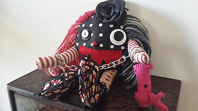 Pepper The Lil Monster Handmade  Gothic Rag Doll,  Ooak Doll, Collectors Doll,