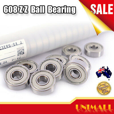Premium 608ZZ Ball Bearing ABEC-5 Rated for Skateboard 3D Printer RepRap Wheels