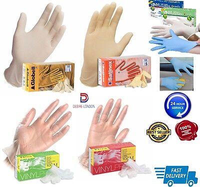 Disposable Latex, Nitrile or Vinyl Gloves - Powdered or Powder Free - 100 Boxed
