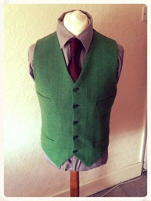 Mens Wool Tweed Waistcoat Vest - All Sizes Green Harris Tweed Xl Large