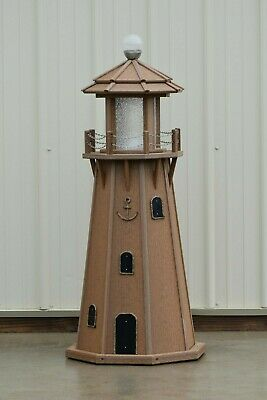 4' Octagon Electric and Solar Powered Poly Lighthouse, Antique Mahogany