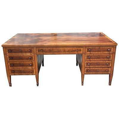 Large Antique Mahogany L. Kreiss And Sons Marquetry Partner's Desk,