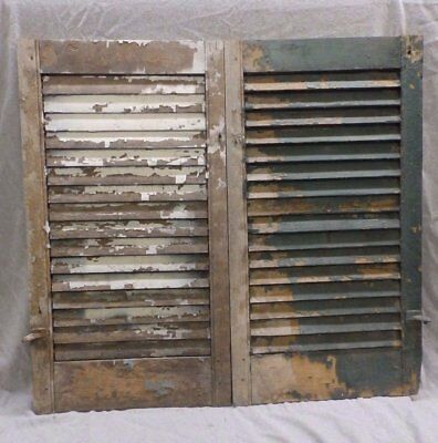 Antique Pair Window Wood Louvered Shutter Shabby Old Chic Vtg 19x36 357-17R
