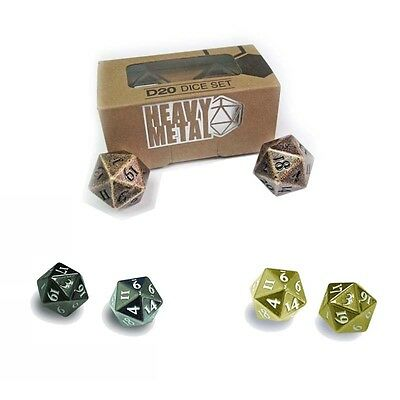 Ultra Pro Heavy Metal Pro Zinc Alloy D20 Dice Set / 2 Dice Set / Choose Colour