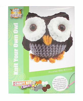 Knit Your Own Owl Art & Craft Set with Yarn, Crochet Hook & Needle