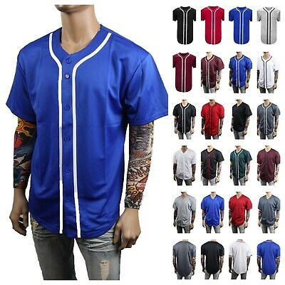 Men Baseball Jersey T-Shirt Button Sports Fashion Casual  Mesh Baseball Jacket