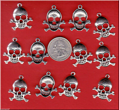 Lot Of 12 Silver Tone Skull And Cross Bones Metal Charms. U.s. Seller  - C 1