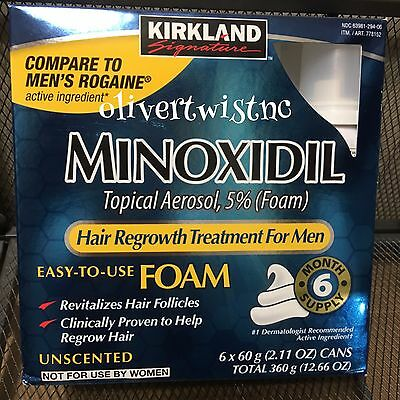 Mens KIRKLAND Compare To Rogaine 5% Topical Foam 6 Month Supply 6 Cans AUG 2020