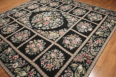 10' x 10' Square Handmade 100% wool French Needlepoint Area Rug- Aubusson 10x10