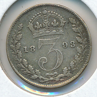 Great Britain Threepence 1893 Small Bust KM758 - F