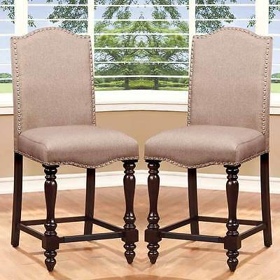 Brilliant Biony Tan Fabric Counter Height Stools With Nailhead Trim Andrewgaddart Wooden Chair Designs For Living Room Andrewgaddartcom