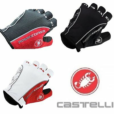 Castelli Rosso Corsa Classic HALF FINGER Gloves Cycling Bicycle  gel gloves UK