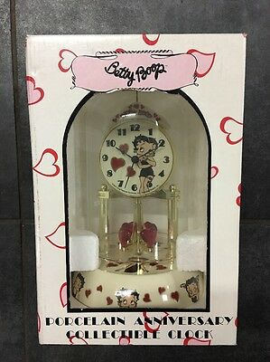 BETTY BOOP CLOCK PORCELAIN ANNIVERSARY Collectible RARE Pink Heart Pendulum 2011