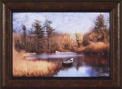 RIVERSIDE by Robin-Lee Vieira 16x22 FRAMED PRINT Canoe River Pine Trees Clouds