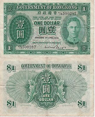 """Hong Kong 1 Dollar Banknote 9.4.1949 Very Fine Condition Cat#324-A""""King George"""""""