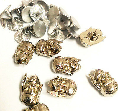 5 x Decorative Rapid Rivet STUDS Pirate / Buccaneer Skull easy  install Nickel
