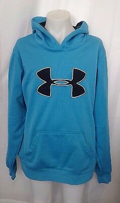 Under Armour Blue Juniors Large Pull Over Hoodie Sweatshirt L Girls or Boys
