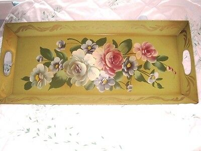 Antique Hand Painted Pink White Cabbage Roses Soft Green Long Narrow Tole Tray
