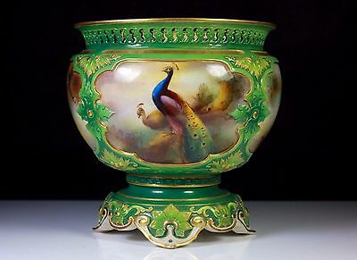 Antique Royal Worcester Ac Lewis Hand Painted Peacock Pedestal Vase C.1904