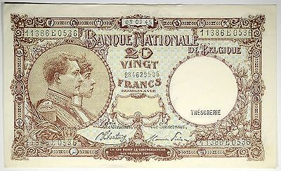 1945 Belgium 20 Francs Bank Note P. 111