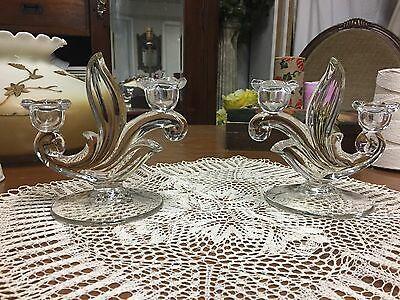 Vintage Pair Art Glass 2 CANDLE Holder each Holiday Dinner Table Candelabra