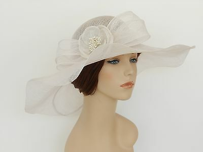 New Church Kentucky Derby Wedding Sinamay Wide Brim Dress Hat SDL-006 White