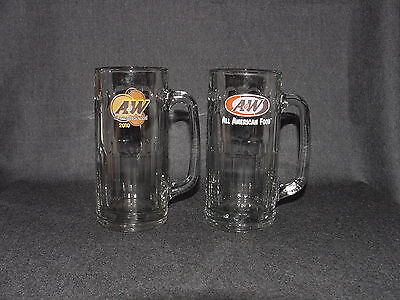 2 Vintage Tall A & W All American Food Root Beer Glass Mugs Thick Clear Glasses