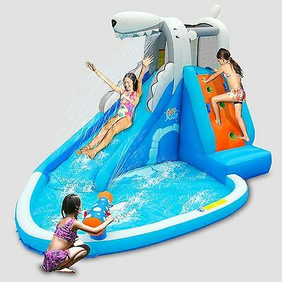 Water Slide Air Powered Inflatable Water Sprayer Slide Paddling Pool with Blower
