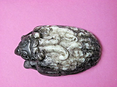 Fine Old or Antique Chinese Black White Jade Carved Mythical Creature