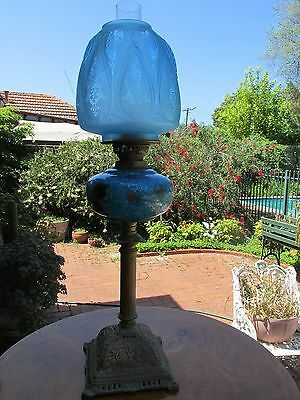 Antique Banquet Lamp Blue bowl and shade Kerosene lamp